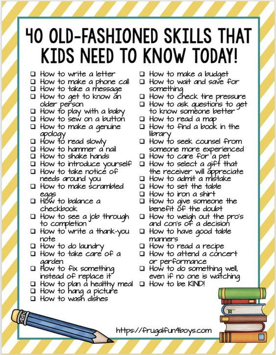 40 Old-Fashioned Skills That Kids Need To Know Today!